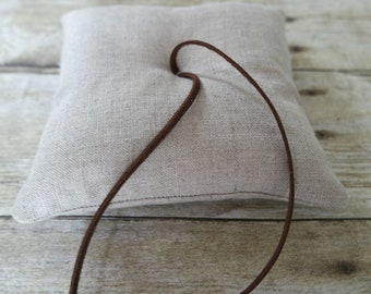 Linen and Leather Ring Bearer Pillow, Choose Your Linen Color, Three Sizes