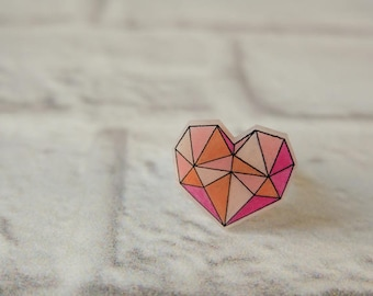 Geometric Heart ring