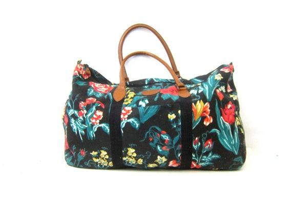 Vintage Floral Print Fabric Suitcase Black Tapestry Bag Double Strap Boho Travel Shoulder Tote Purse Flower Pattern Gitano Shoulder Purse