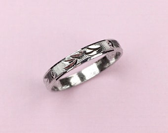 Etched Sterling Band | Silver | Wedding Band | Stacking Band | Vintage