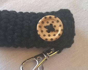 Black Lip Balm Cozy with Polka Dot Button - Chapstick Case - Lip Balm Holder - Purse Accessory - Gifts for Her