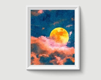 Full Moon Watercolor Painting Art Printable Q405