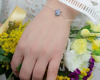 MULTIPLE GREY STAR Bracelets - 925 sterling silver with natural pearl star shape, freshwater pearls-stackable bracelet - black star pearl