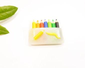 Gift teacher, crayons, pencils fimo clutch brooch pin vest