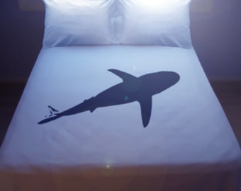Shark Duvet Cover Sheet Set Bedding Queen King Size Twin Full Double Cotton Duvet Covers Bed Sheets ocean sea life theme kids children boy