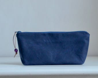 Navy Waxed Canvas Zipper Pouch Gadget Case Cosmetics Bag - READY TO SHIP