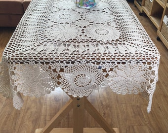 "39""x63"" Rectangular tablecloth, hand crochet table cloth oblong, country living floral table cover, lace table topper for home decoration"