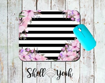 Cuter Flower and Black and White Stripes Mouse Pad Mousepad Funny Coworker Gift Lover Gift Office Desk Accessories Cubicle Decor Cute