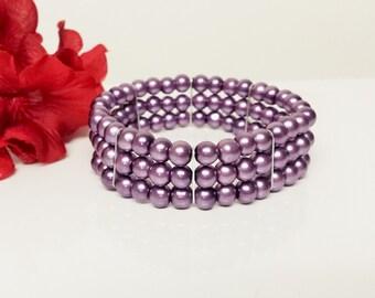 Amethyst Pearl Bridesmaid Bracelet - Triple Strand Pearl Bracelet - Triple Row Purple Bracelet - Prom Stretch Bracelet