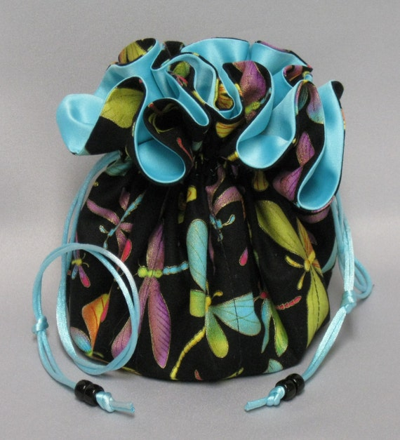 Jewelry Travel Tote---Drawstring Organizer Travel Pouch---Dragonfly Design---Large Size