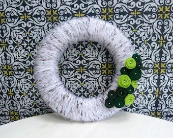 St Patrick's Day Wreath | Green Flower Yarn Wrapped Wreath