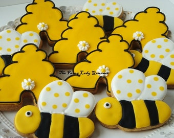 Bumble Bee and hive  cookies 1 dozen