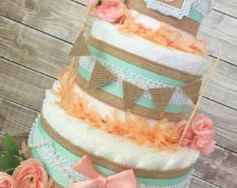Shabby Chic Diaper Cake in Burlap, Mint and Peach, Shabby Chic Baby Shower Decoration