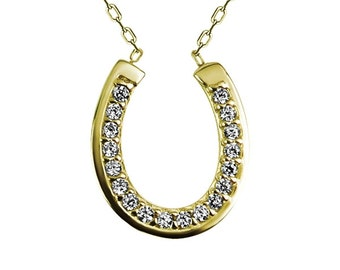 Horseshoe CZ Necklace, in Gold Plated Sterling Silver • Equestrian Jewelry Gift For The Horseshoe Lover • Safe to Get Wet • Plus 10% off