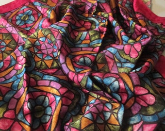 All Rayon Foulard, Scarf Stained Glass  35 x  34