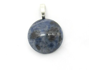 1 Natural Sodalite Gemstone Round Pendant 26mm (B508a2)
