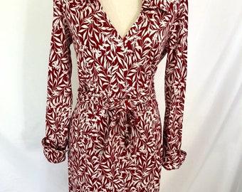 Diane Von Furstenberg 100% Silk Wrap Dress Red Size 10