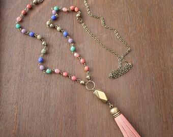 Boho jewelry Leather tassel necklace Boho necklace Bohemian necklace Southwestern jewelry Bohemian jewelry Festival jewelry Hippie jewelry