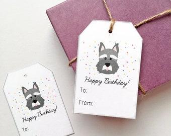 10 Schnauzer Gift Tags, Dog Birthday Gift Tags, Dog Birthday Tags, Cute Puppy Gift Tags, Schnauzer Lover Gift, Dog Gift Tags, Dog Party Tags