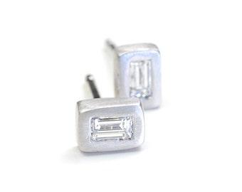 Diamond Baguette Earrings, Baguette Studs, Diamond Earrings, Baguette Diamond Earrings, Gold Diamond Earrings, Diamond Studs, Studs, Nixin