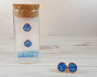 Blue Druzy Earrings, Rose Gold Druzy Stud Earrings, Rose Gold, Blue Druzy Stud Earrings, Blue Earring, Faux Druzy, 8mm Blue