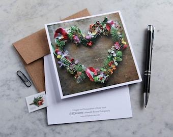 Abundance Heart Mandala Note Card with 5x5 square envelope, blank inside