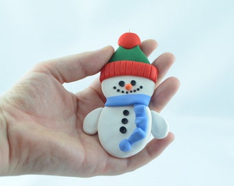 Christmas snowman ornament, Christmas tree decoration, handmade snowman, christmas gift for her, gift fot him, original gift,