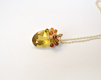 Beer Quartz & Shaded Petrol Tourmaline Pendant, Gold Necklace, Golden Brown Gemstone, Earth Tones, Fall Fashion, Autumn Necklace