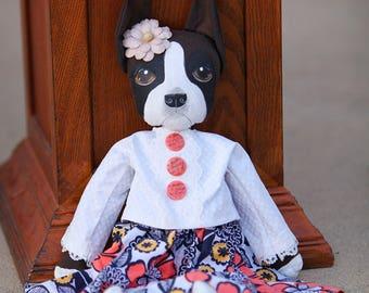 30% OFF Brindle Flashy Boxer Girl Primitive Art Doll
