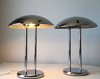 2 VINTAGE CHROME LAMP 1980