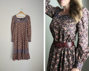 vintage 70s brown floral long sleeve praire GUNNE SAX spring fall dress -- womens small- 35-free-free