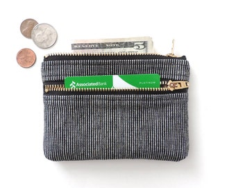 Wallet Coin Purse Double Zipper Pouch Black Stripe