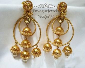 Indian earrings, Hoops, South Indian jewelry, Kundan jhumka, Pakistani jewelry, Multiple jhumkis, Bali earrings, Bollywood jewelry, Boho.