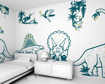 Dinosaur Kids Room Wall Decals - Jurassic World - 8 Large Boys Wall Stickers (free shipping)