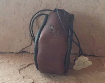 Handmade leather drawstring pouch with Deer Head design suitable for keeping your trinkets, dice, coins safe from loss or Thieves.