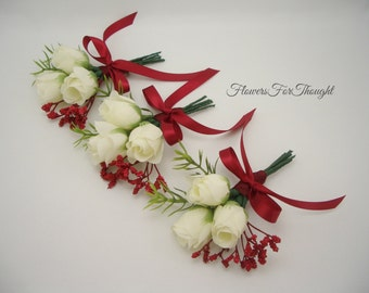 White Rosebud Boutonniere with Red Accent, Winter Wedding, Groomsmen Buttonhole Bloom, 1 Rose Lapel Pin