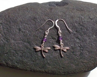 Dragonfly Charm Earrings with purple Amethyst bead