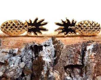Little Dainty Pineapple Studs, Gold Pineapple Earrings, Hipster Jewelry, Gifts for Her, Geek Earrings
