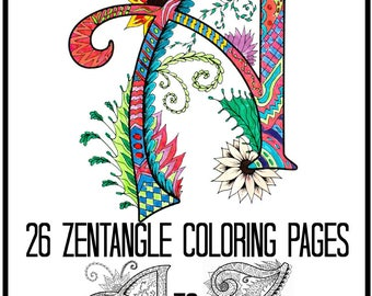Alphabet Zentangles Coloring Book for Adults and Children