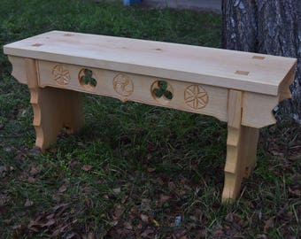 Medieval carved pine bench