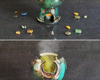 raku pottery essential oil burner, magic burner, ceramic oil diffuser, oil warmer, witchcraft supply, aromatherapy burner, tealight cauldron