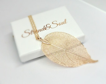 Real Leaf Pendant Dipped In Rose Gold On Rose Gold Filled Chain - Gift For Her
