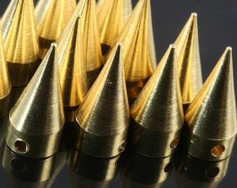 """5 pcs Raw Brass Spike 7x16 mm 9/32"""" x  5/8""""  Raw Brass finding industrial design (2 mm 5/64"""" 13 gauge hole ) pendulum R1147"""