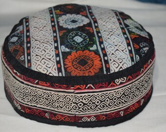 Prayer hat Vintage hat Handmade hat Handwoven hat Sun hat Ethnic hat Collection hat Suzani hat embroidery handmade hat Old hat ag-52