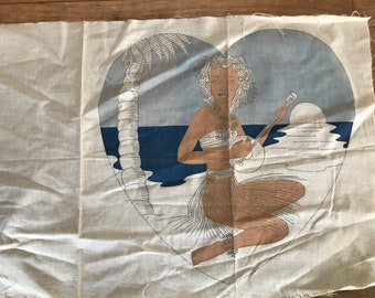 40's Hula Girl Pillow Kit Rare Vintage Pillow Kit Girl on Beach Playing Ukulele Stamped Tinted Needs Completion NOS Project Cottage Chic