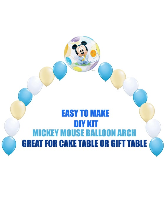 baby mickey mouse 1st birthday balloons mickey party decor cake table gift table diy kit easy to assemble mickey balloon arch baby shower