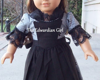 OOAK Halloween witch black and white 1770s Colonial day dress. Fits 18 inch play dolls such as American Girl, Springfield, OG. Made in USA