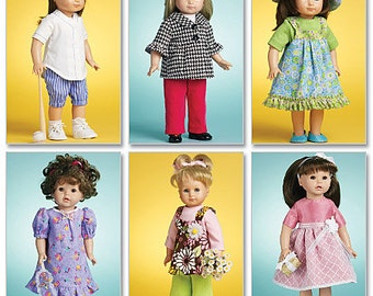 """McCalls 6137 Doll Clothes Sewing Pattern, 18"""" Doll Clothes pattern, American Doll Clothes pattern"""