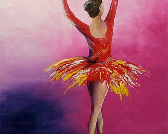 "Ballerina #2 18x24"" Acrylic Painting on Stretched Canvas"
