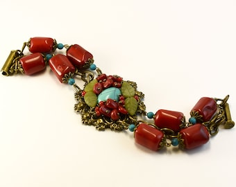 Bracelet red coral and turquoise \ bracelet coral \ bracelet with natural stones \ bracelet red with blue \ bracelet vintage style